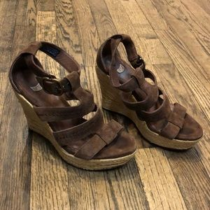 Ugg brown suede wedges size 6
